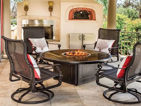 GenSun Grand Terrace Woven Cast Aluminum Fire Pit Lounge Set