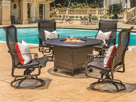 Gensun Grand Terrace Woven Cast Aluminum Dining Set with Fire Pit