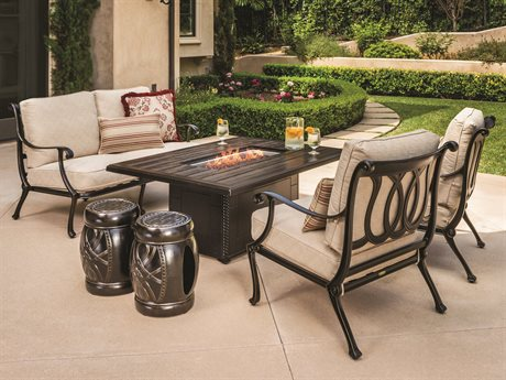 GenSun Largo Cast Aluminum Cushion Fire Pit  Lounge Set