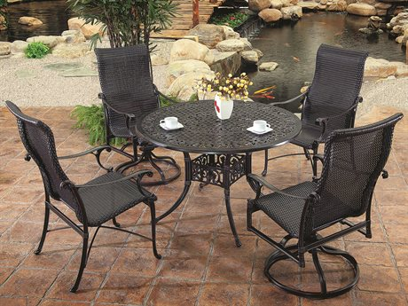GenSun Michigan Woven Cast Aluminum Dining Set