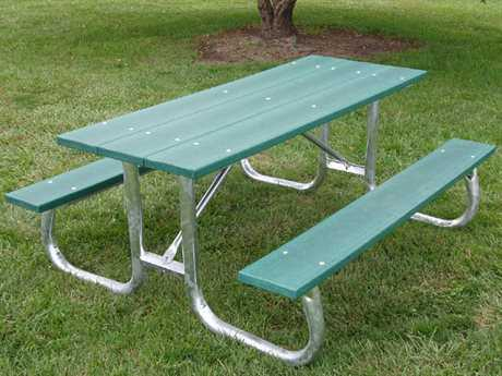 Frog Furnishings Recycled Plastic Galvanized Frame Table