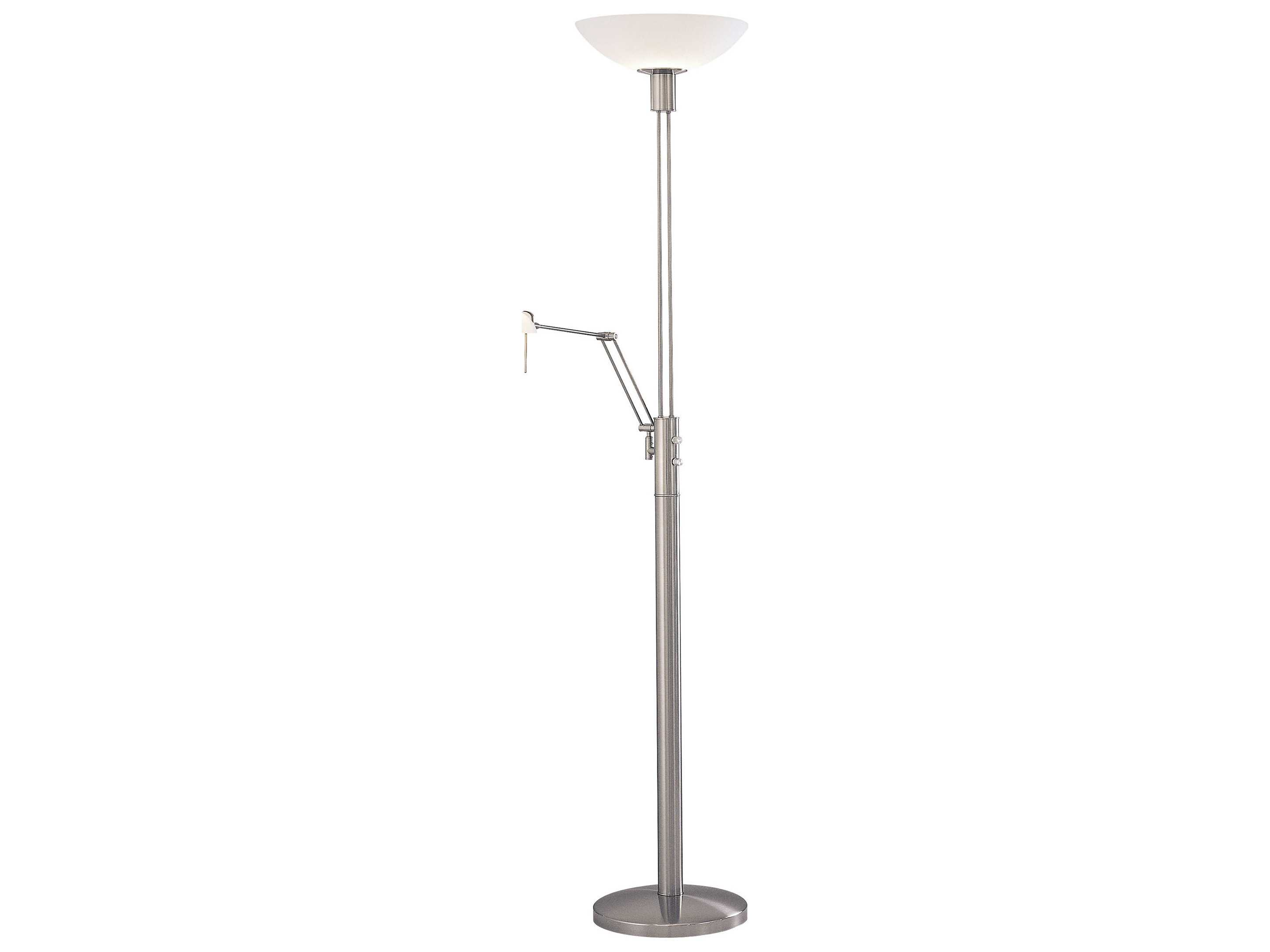 reading room brushed nickel torchiere floor lamp with reading light. Black Bedroom Furniture Sets. Home Design Ideas