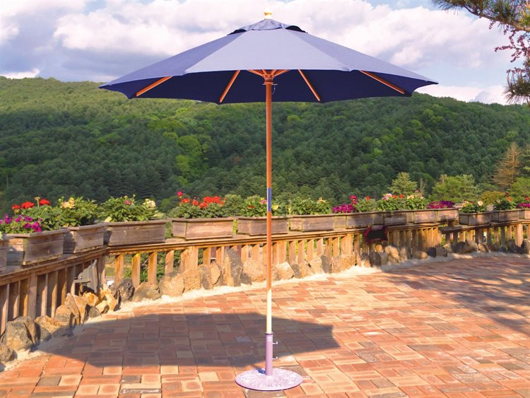 Galtech Quick Ship Cafe & Bistro 7.5 Foot Wood Push Up Lift Umbrella PatioLiving