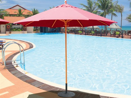 Galtech Quick Ship Wood Commercial 9 Foot Octagon Push Up Lift Umbrella
