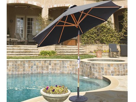 Galtech Quick Ship Wood 9 Foot Quad Pulley Lift Rotational Tilt Umbrella