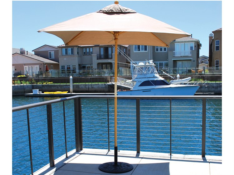 Galtech Quick Ship Cafe & Bistro 6 Foot Wood Square Push Up Lift Umbrella PatioLiving