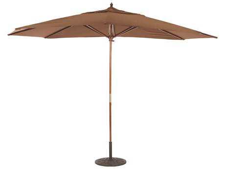 Galtech Wood 11 x 8 Foot Oval Pulley Lift Umbrella