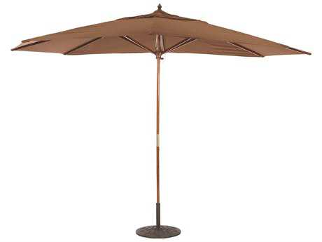 Galtech Wood 11 x 8 Foot Oval Pulley Lift Umbrella