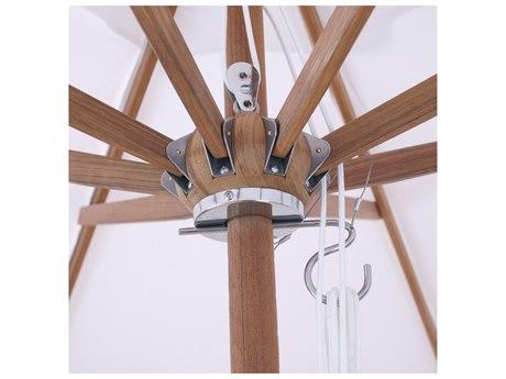 Galtech Teak 9 Foot Pulley Lift Umbrella