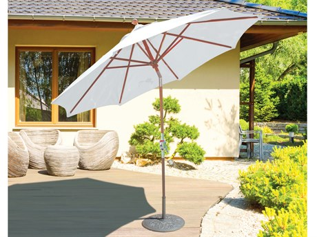 Galtech Quick Ship Teak 9 Foot Crank Lift Rotational Tilt Umbrella