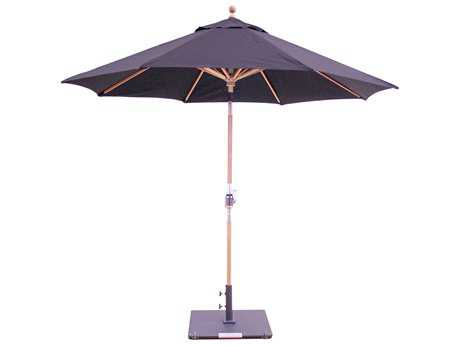 Galtech Teak 9 Foot Crank Lift Rotational Tilt Umbrella