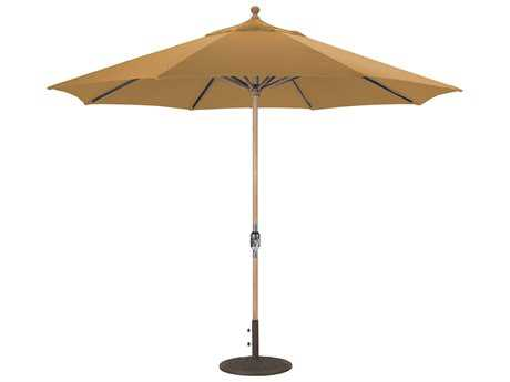 Galtech Teak 11 Foot Maximum Shade Crank Lift Umbrella