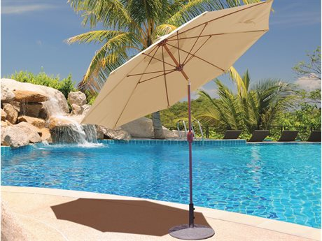 Galtech Quick Ship Aluminum 9 Foot Crank Lift Manual Tilt Umbrella PatioLiving