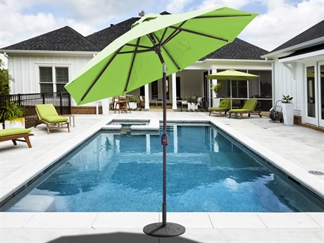 Galtech Quick Ship Aluminum 7.5 Foot Auto Tilt Crank Lift Umbrella PatioLiving