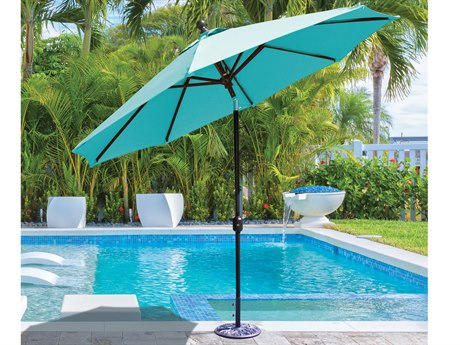 Galtech Quick Ship Aluminum 9 Foot Auto Tilt Crank Lift Umbrella PatioLiving