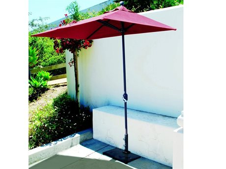 galtech quick ship commercial 7 x 35 foot aluminum half wall crank lift umbrella - Rectangle Patio Umbrella