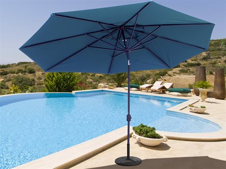 Galtech Quick Ship Aluminum 8 x 11 Foot Oval Crank Lift Auto Tilt Umbrella