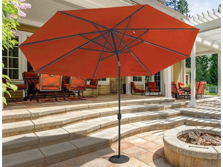Galtech Quick Ship Aluminum 8 x 11 Foot Oval Crank Lift Auto Tilt Umbrella PatioLiving