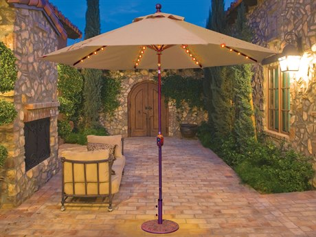 Galtech Quick Ship Aluminum 9 Foot Auto Tilt Crank Lift Umbrella with LED Lights