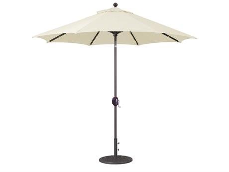 Galtech Aluminum 9 Foot Auto Tilt Crank Lift Umbrella with LED Lights