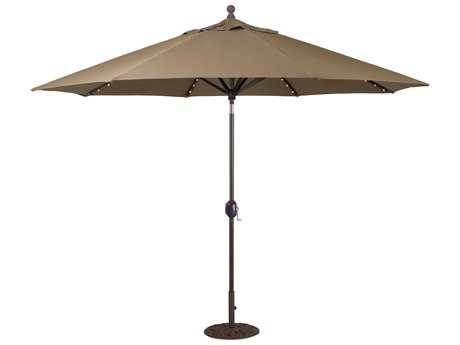 Galtech Aluminum 11 Foot Crank Lift Auto Tilt Umbrella with LED Lights