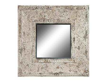 Guild Master Embossed Metal Distressed Antique White 48 x 48 Wall Mirror