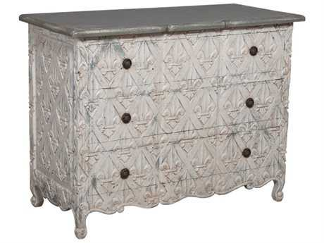 Guild Master Fleur-De-Lis White Three Drawer Chest