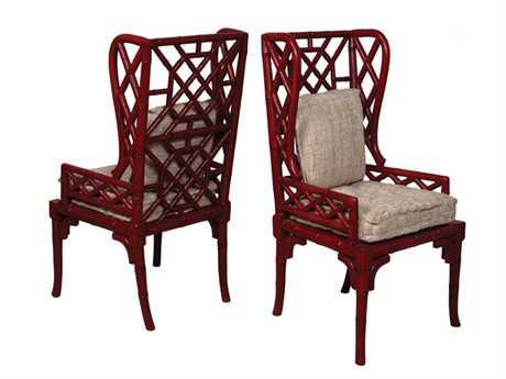 Guild Master Bamboo Red Wing Back Accent Chair (Set of Two)