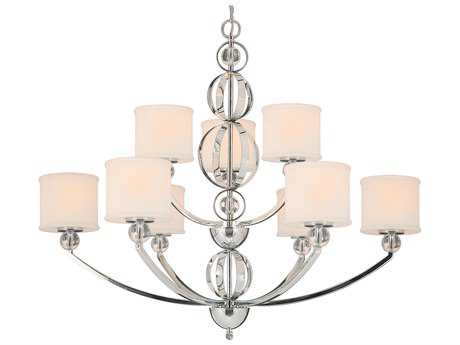 Golden Lighting Cerchi Chrome Nine-Light 37.5'' Wide Chandelier with Etched Opal Glass