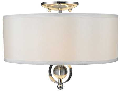 Golden Lighting Cerchi Chrome Two-Light 15'' Wide Semi-Flush Mount Light with Opal Satin Shade