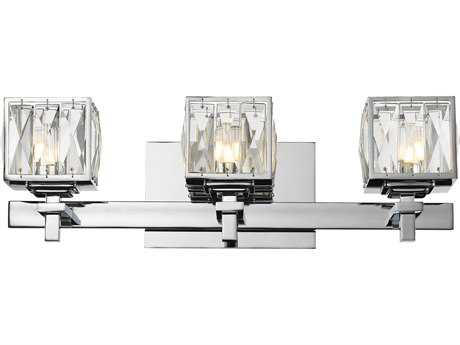 Golden Lighting Neeva Chrome Three-Light Vanity Light with Faceted Crystal Glass