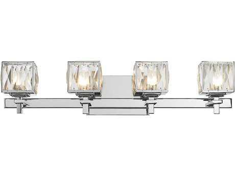 Golden Lighting Neeva Chrome Four-Light Vanity Light with Faceted Crystal Glass
