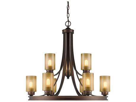 Golden Lighting Hidalgo Sovereign Bronze Nine-Light 32'' Wide Chandelier with Regal Glass