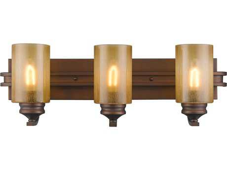 Golden Lighting Hidalgo Sovereign Bronze Three-Light Vanity Light with Regal Glass