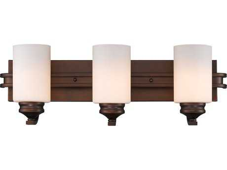 Golden Lighting Hidalgo Sovereign Bronze Three-Light Vanity Light with Opal Glass