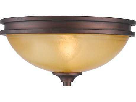 Golden Lighting Hidalgo Sovereign Bronze Two-Light 12.5'' Wide Semi-Flush Mount Light with Regal Glass
