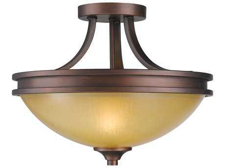 Golden Lighting Hidalgo Sovereign Bronze Two-Light 14.75'' Wide Semi-Flush Mount Light with Regal Glass
