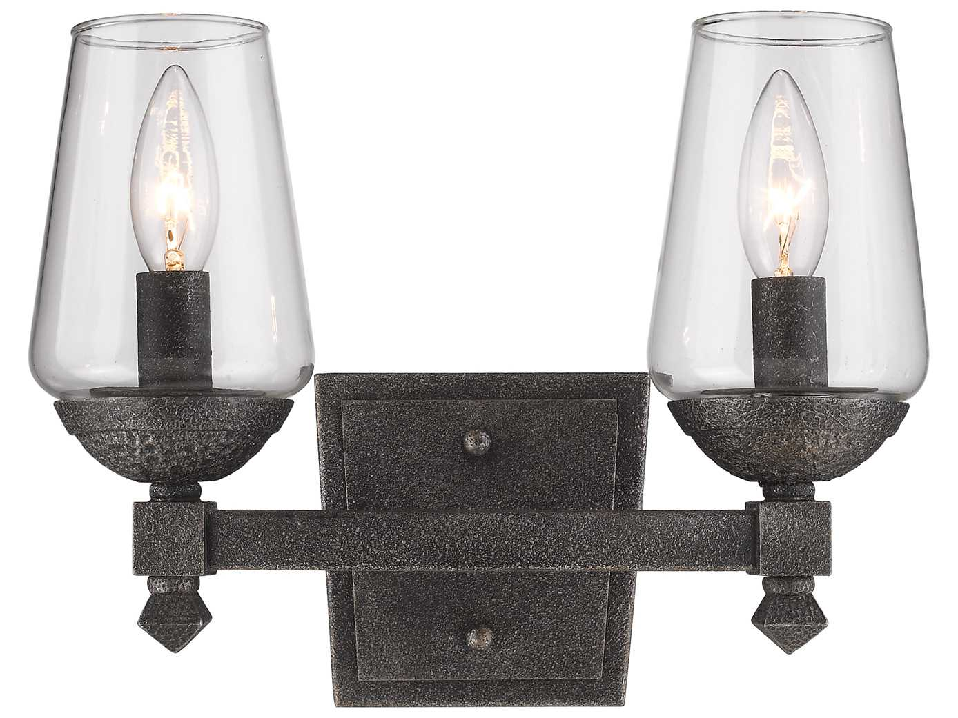 Golden Lighting Marcellis Dark Natural Iron Two-Light Vanity Light with Clear Glass GO1208BA2DNI