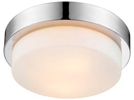 Golden Lighting Multi-Family Chrome Two-Light 10.5'' Wide Semi-Flush Mount Light with Opal Glass