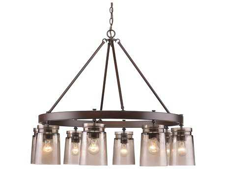 Golden Lighting Travers Rubbed Bronze Eight-Light 36.25'' Wide Chandelier with Frosted Artisan Glass Shade