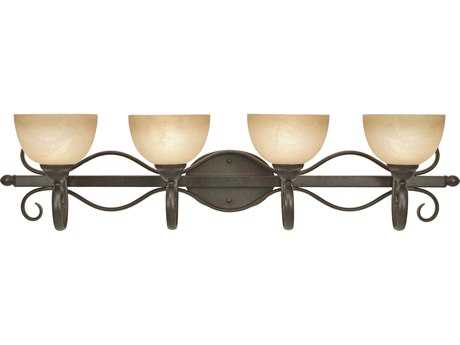 Golden Lighting Riverton Peppercorn Four-Light Vanity Light with Linen Swirl Glass