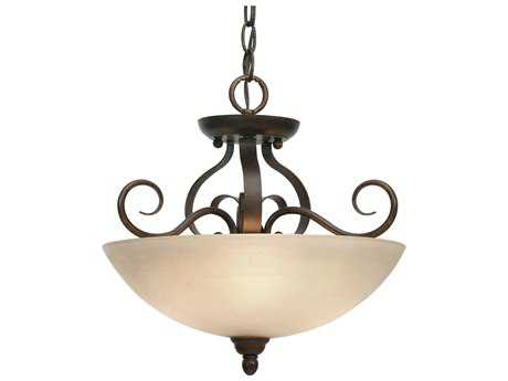 Golden Lighting Riverton Peppercorn Three-Light 14.5'' Wide Convertible Pendant / Semi-Flush Mount Light with Linen Swirl Glass