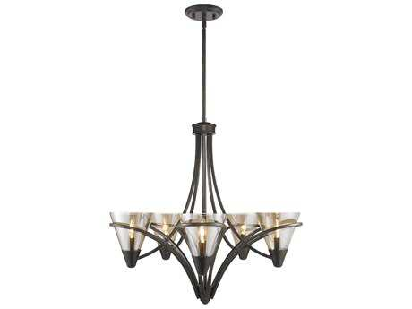 Golden Lighting Olympia Burnt Sienna Five-Light 26'' Wide Standard Chandelier with Baltic Amber Glass
