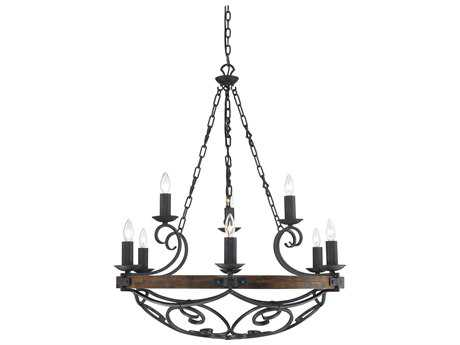 Golden Lighting Madera Black Iron Nine-Light 34.5'' Wide Chandelier
