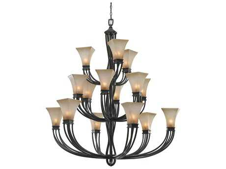 Golden Lighting Genesis Roan Timber 15-Light 47.25'' Wide Grand Chandelier with Evolution Glass