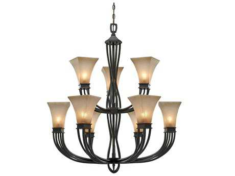 Golden Lighting Genesis Roan Timber Nine-Light 35.88'' Wide Chandelier with Evolution Glass