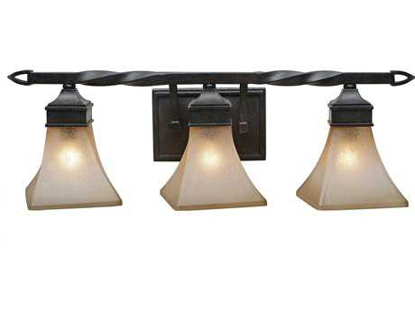 Golden Lighting Genesis Roan Timber Three-Light Vanity Light with Evolution Glass