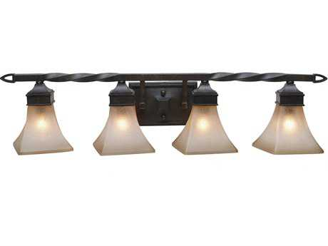 Golden Lighting Genesis Roan Timber Four-Light Vanity Light with Evolution Glass
