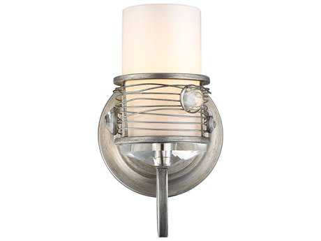Golden Lighting Joia Peruvian Silver Wall Sconce with Frosted Clear Glass / Crystal Accents