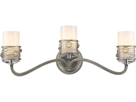 Golden Lighting Joia Peruvian Silver Three-Light Vanity Light with Frosted Clear Glass / Crystal Accents